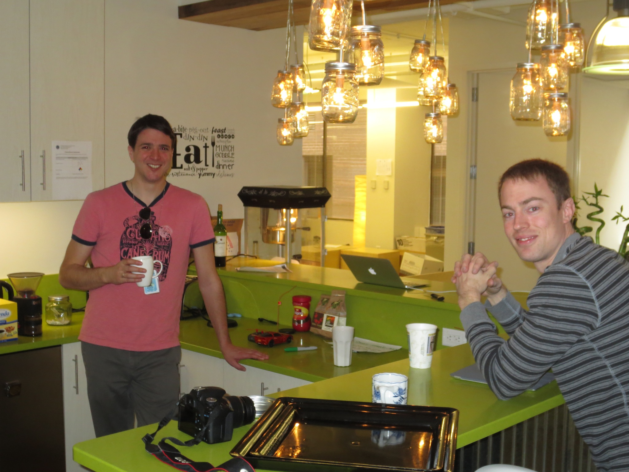 Josh and Ryan in the kitchen area of SocialCode's office