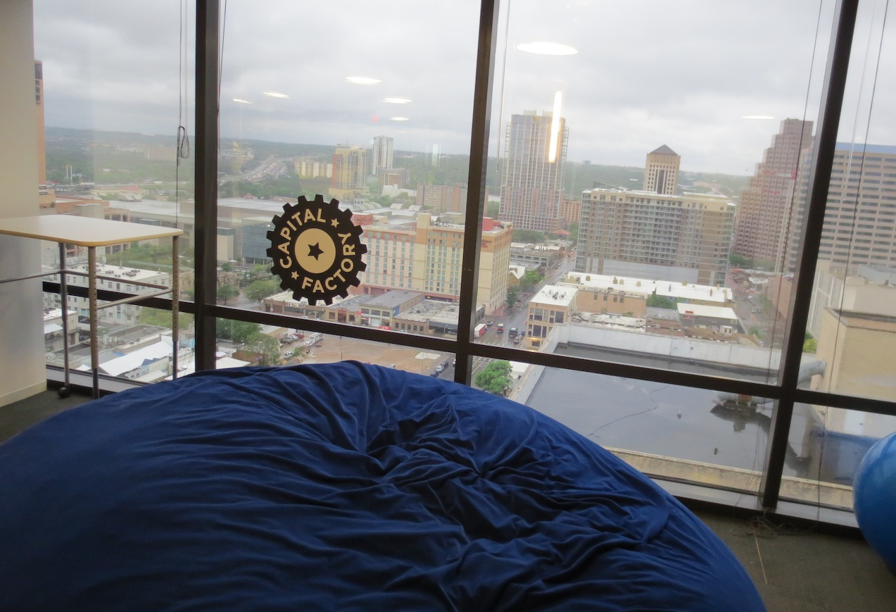 A beanbag and the view of downtown