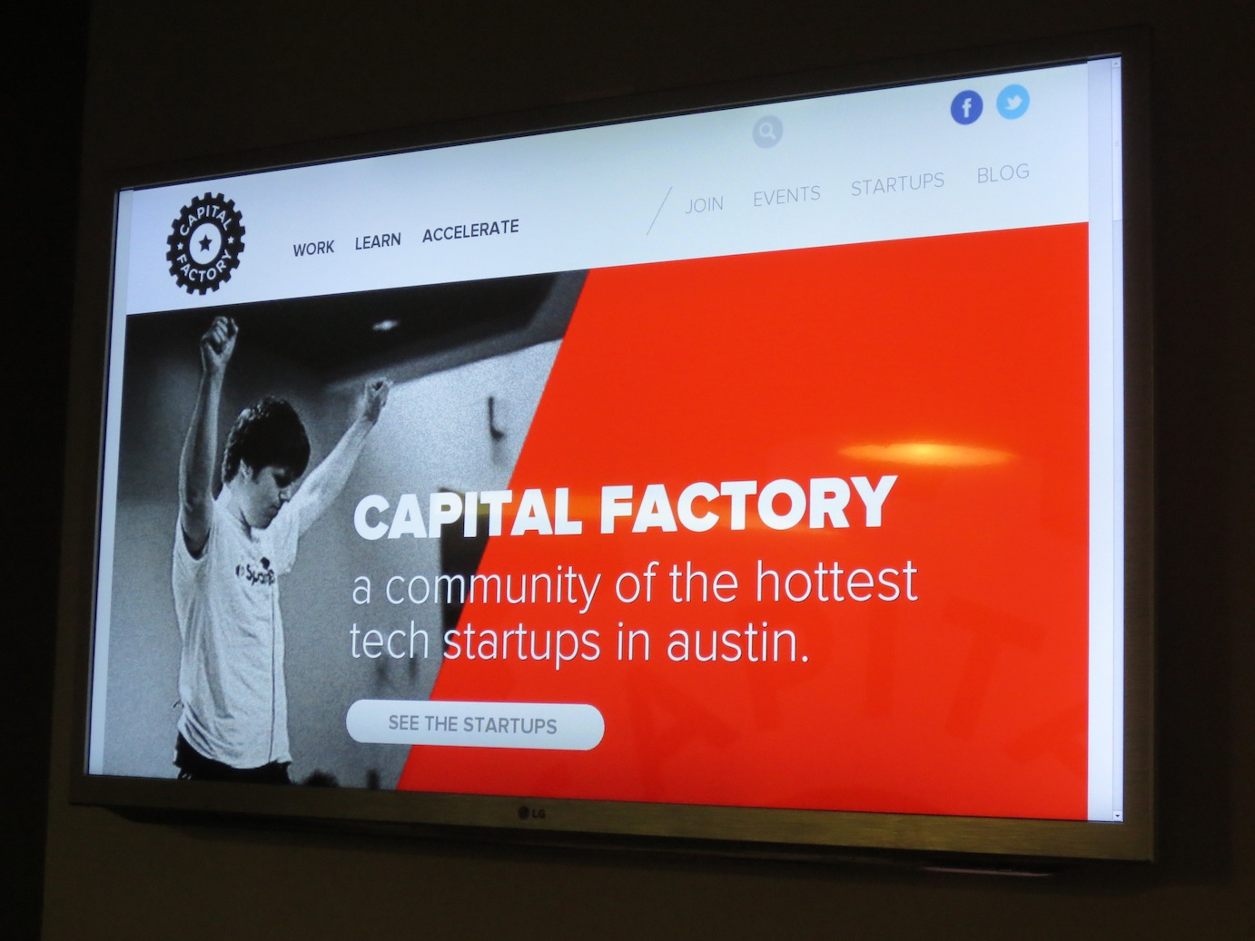 Capital Factory on a monitor at their space