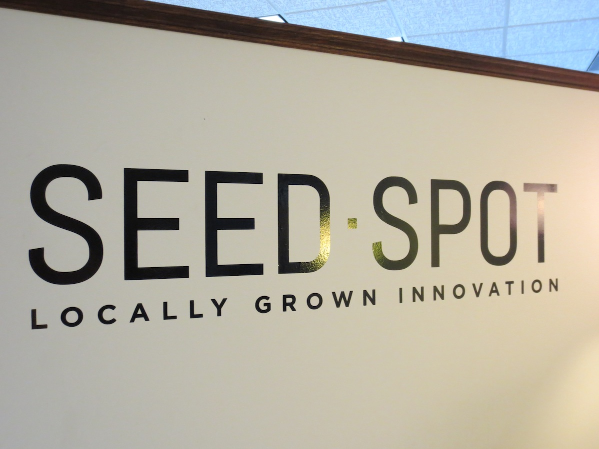 Seed Spot logo on their office entrance wall.