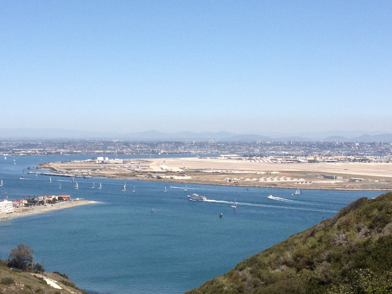 View from Point Loma towards downtown San Diego airport