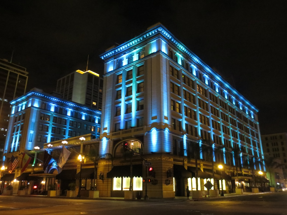 US Grant hotel lit up at night