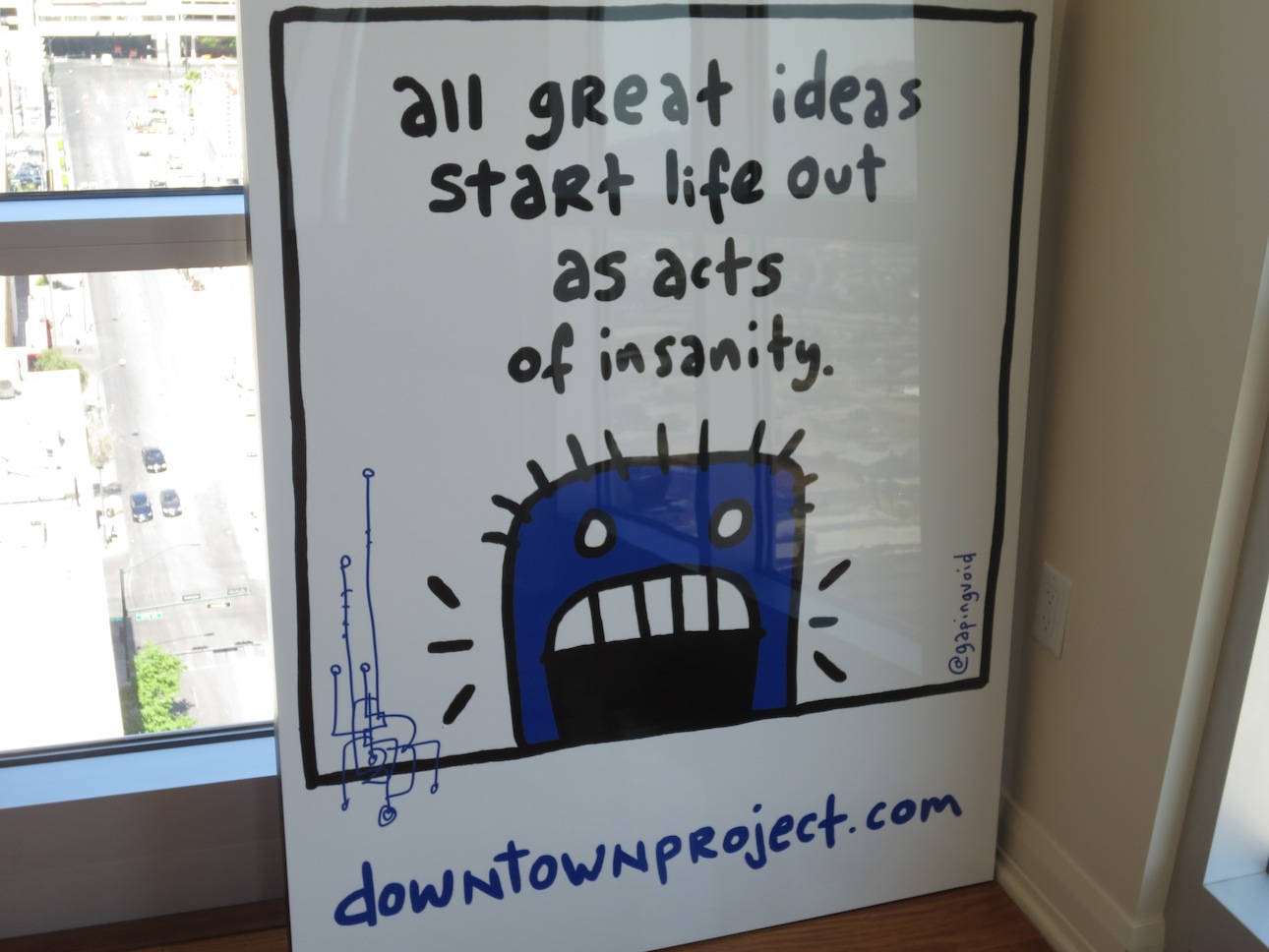 Insanity poster in Tony Hsieh's apartment.