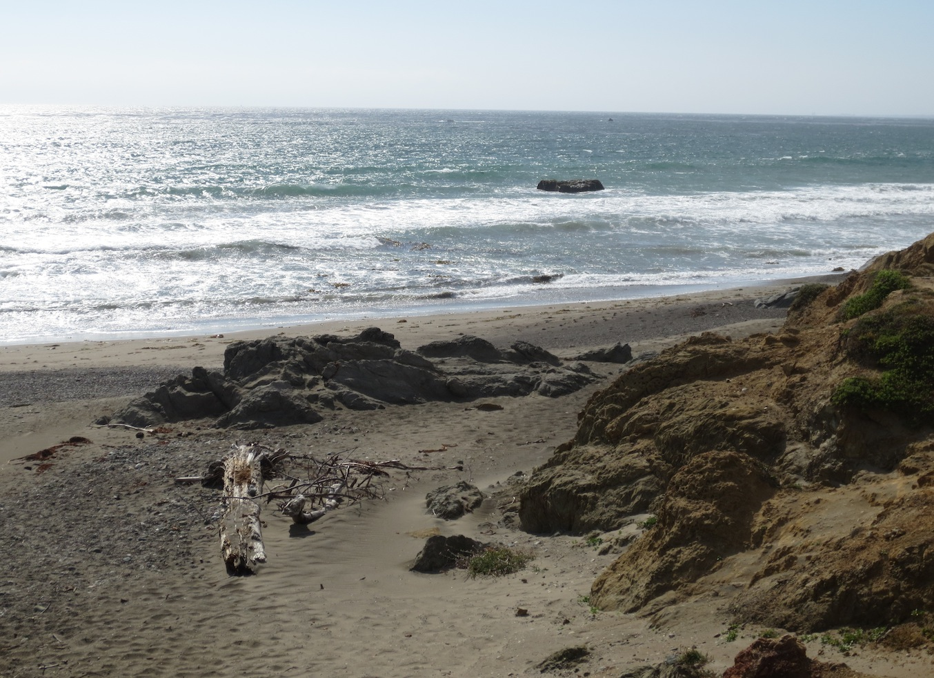 A shot of the beach on the Pacific coastline in California