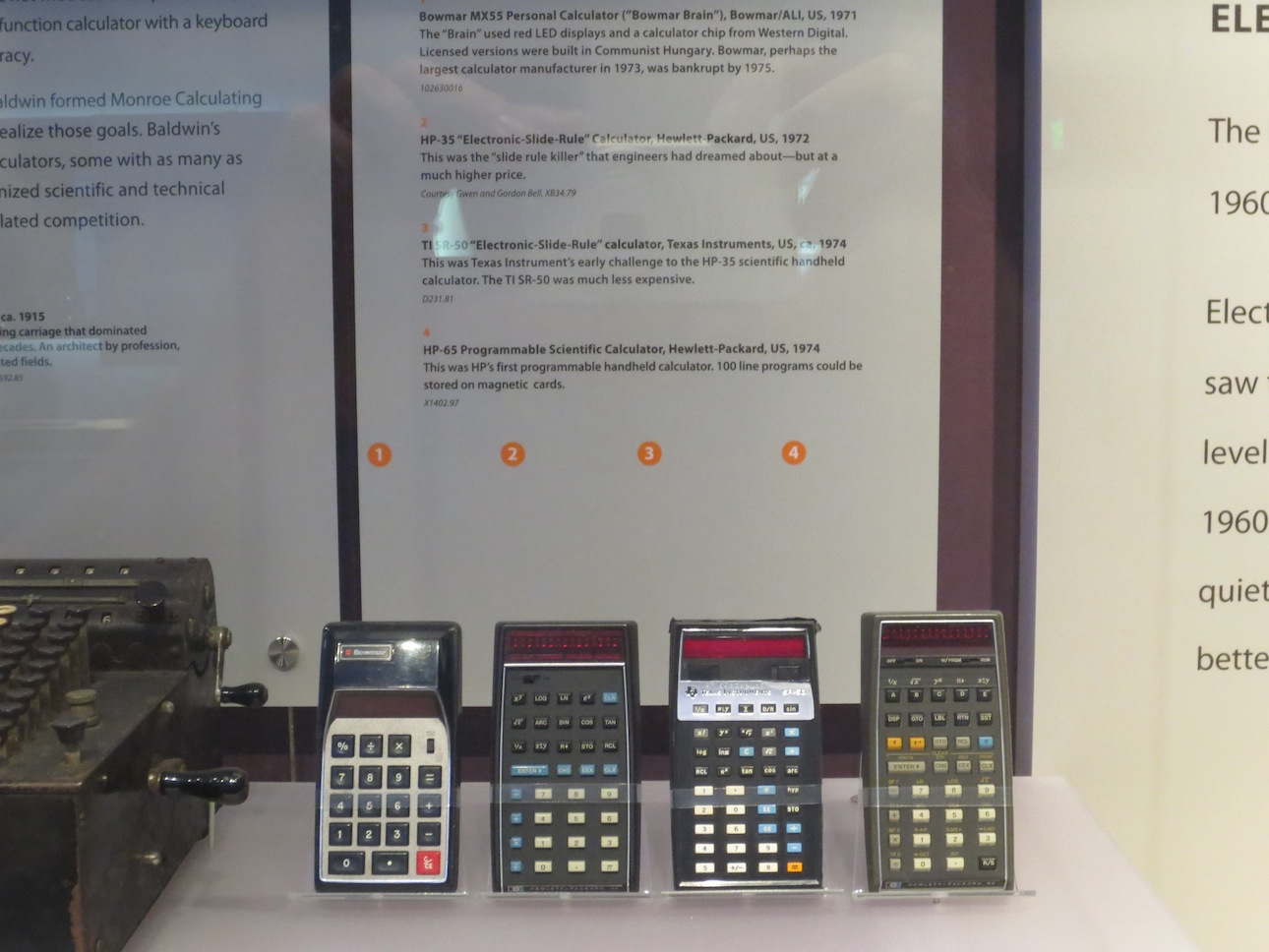Handheld calculators from the 1970s.