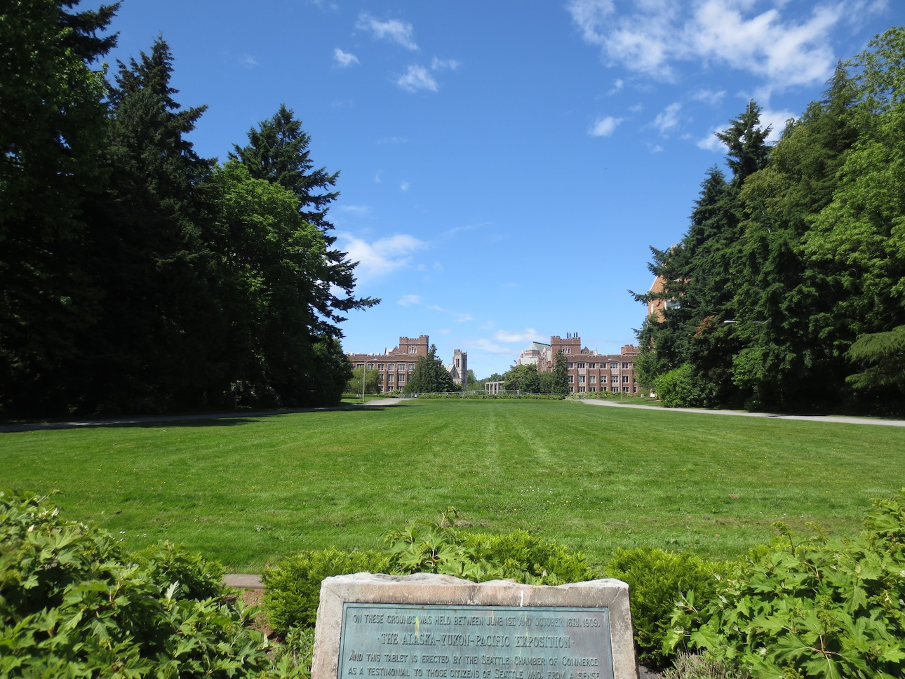 Plaque and field looking up at UW campus.