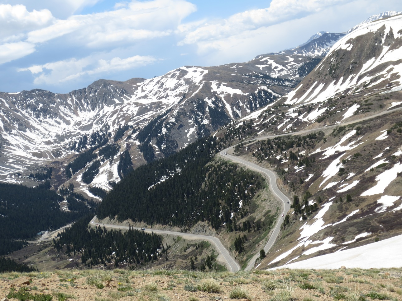 Winding road out of Loveland Pass.