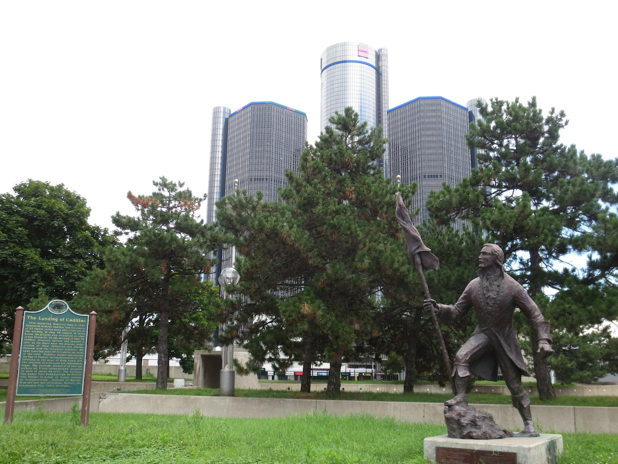 Statue of Cadillac, founder of Detroit.