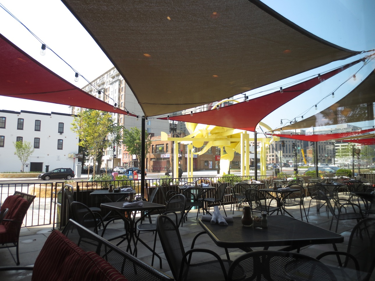 Patio seating outside Busboys.