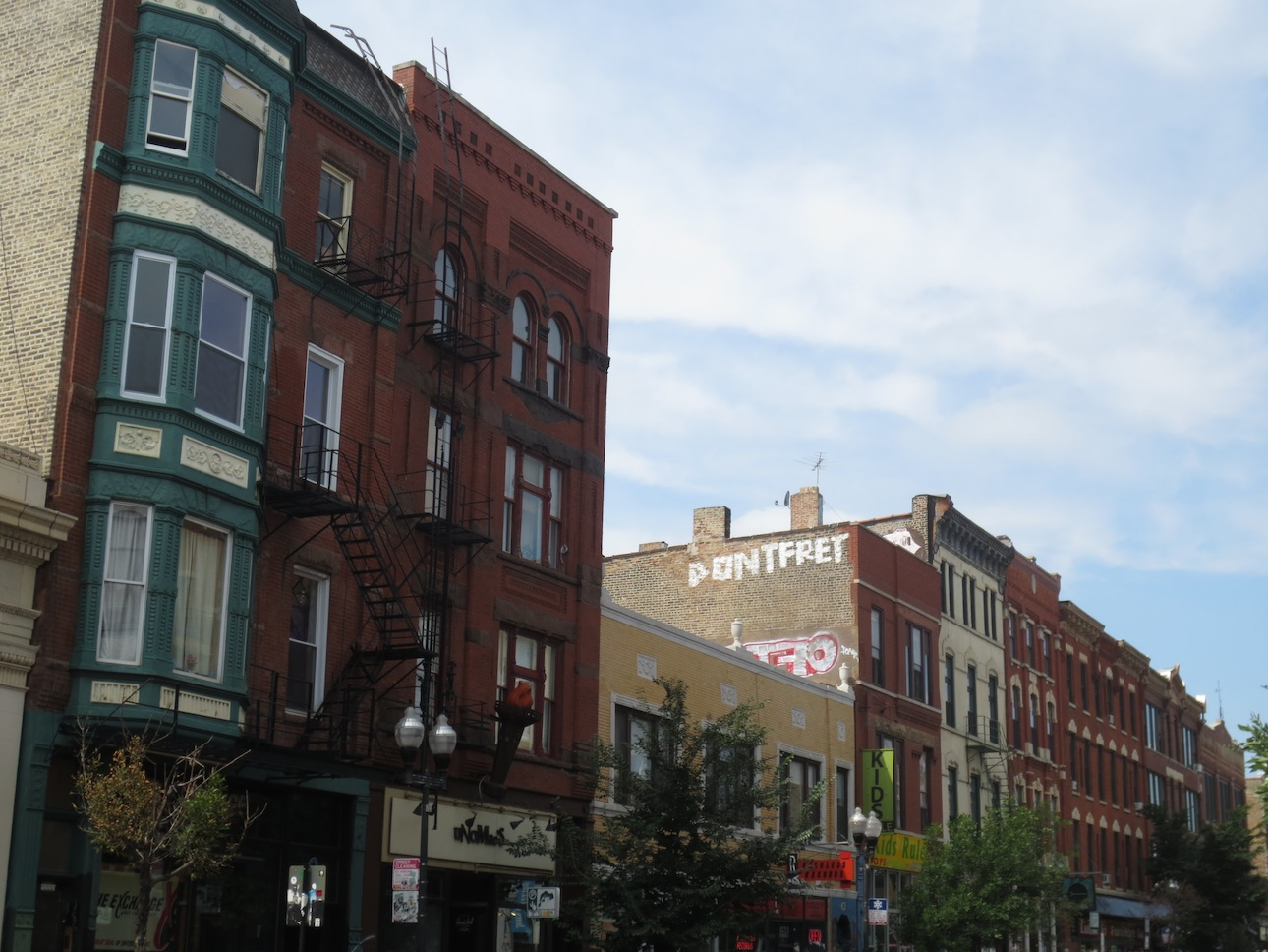A view of three buildings in Wicker Park.