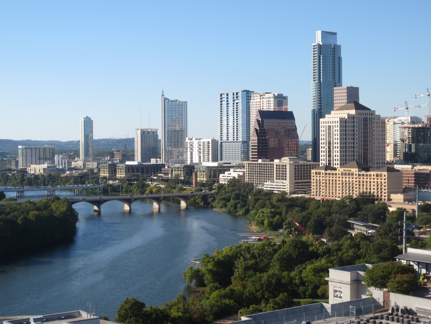 Austin downtown skyline from a Rainey Street highrise