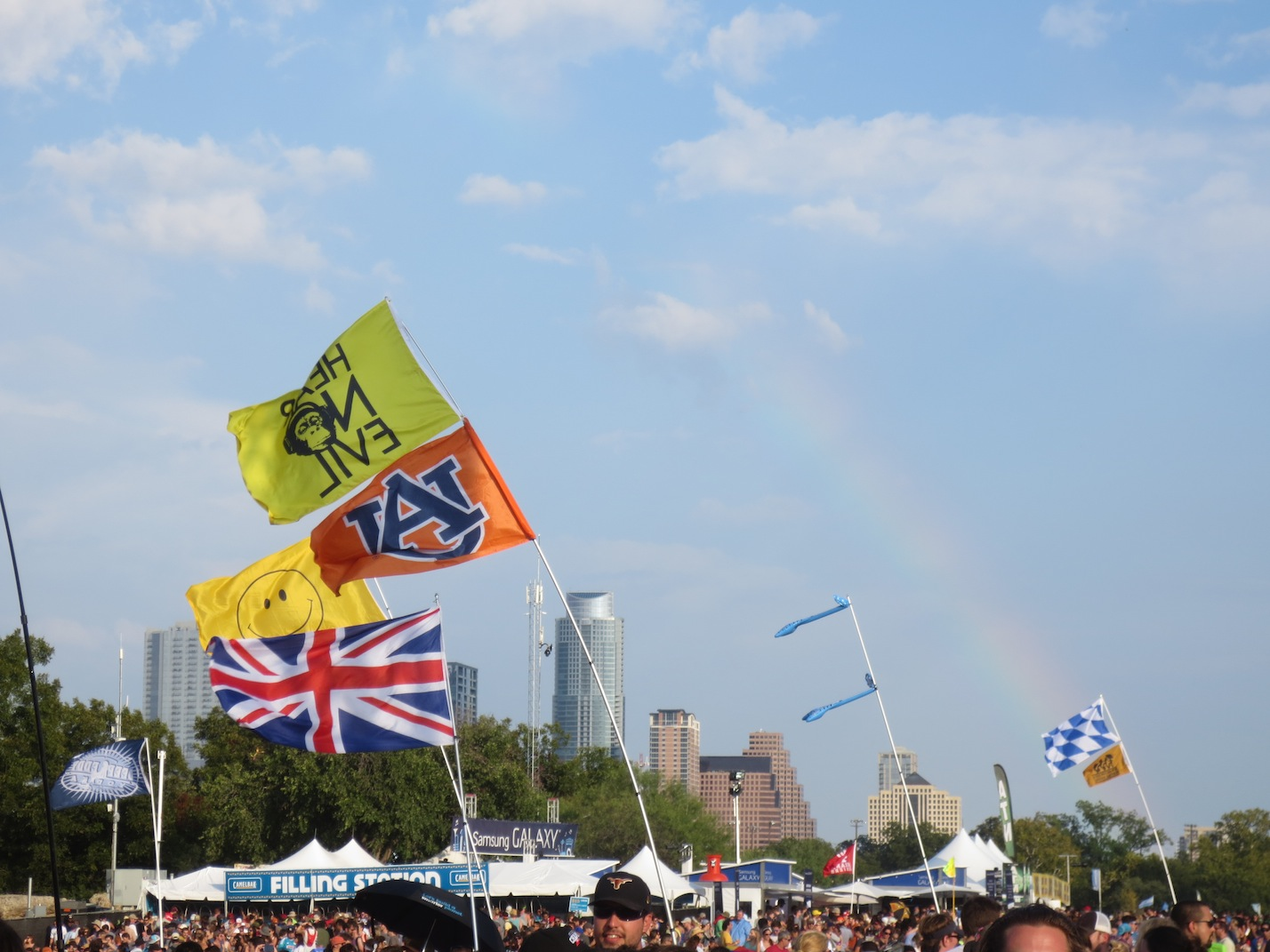 A faint rainbow over ACL.
