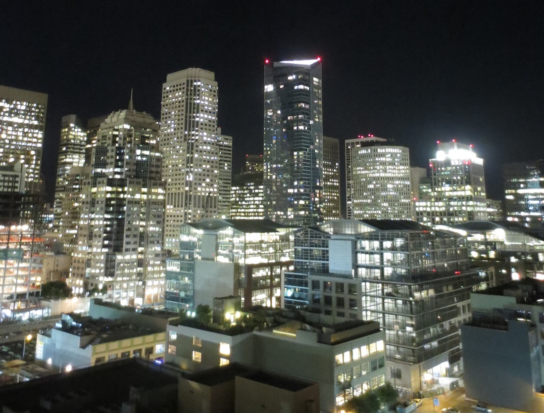 Part of the downtown skyline of San Francisco at night