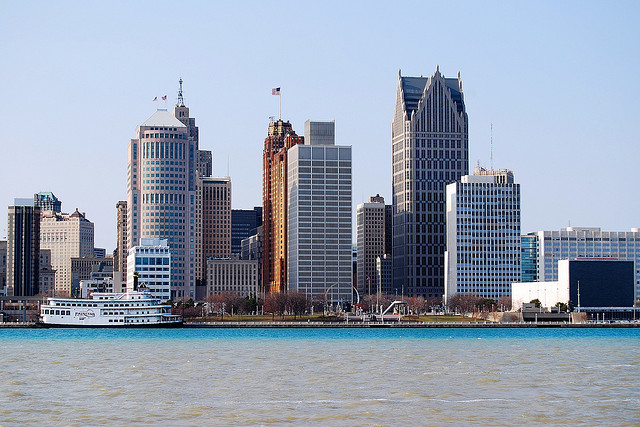 View of Detroit, Michigan from the water