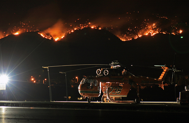 Sky Crane burns behind Los Alamos, New Mexico